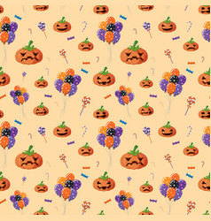 seamless background with jack-o-lantern and candy vector image