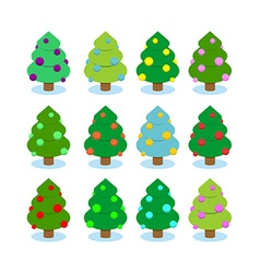 Set Christmas tree Multicolored ornaments on tree vector image vector image