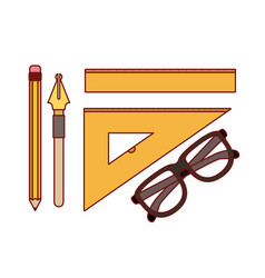 set nib and pen with work elements for drawn on vector image