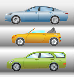 set of cars of different types and colors vector image vector image