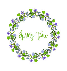 Spring wreath with violet flowers vector