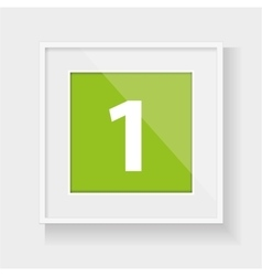 Square frame with number one vector