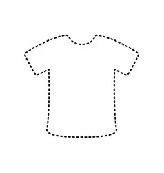 T-shirt sign black dashed icon on white vector