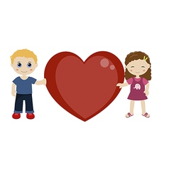 Two children holding a heart vector image