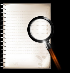 Vintage page of notepad and magnifier vector