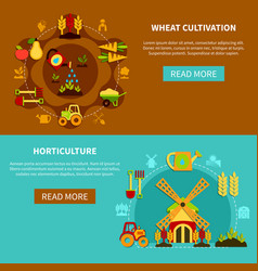 Wheat cultivation banners collection vector