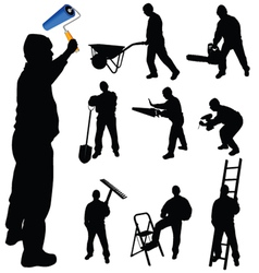 Workers in various trades and tools vector