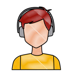 Young man with earmuffs vector