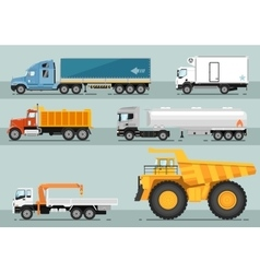 Collection of trucks flat style vector
