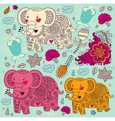 Various elephants vector image