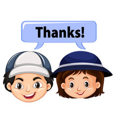 Boy and girl with word thanks vector
