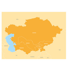 Map of central asia region with orange highlighted vector