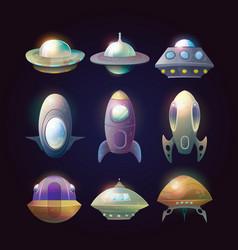 Alien spaceship disk or astronaut rocket vector
