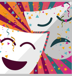 Carnival masks with confetti stars and streamers vector