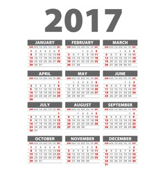 2017 calendar black - template of 2017 calendar vector