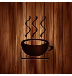 Hot drink web icon Wooden background vector image