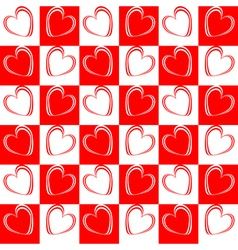 Design seamless red hearts pattern vector