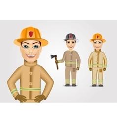 set of firefighters in brown uniform vector image