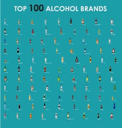 Top-100-alcohol-brands-collection vector