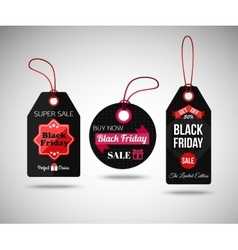 Black friday sale paper tags isolated labels vector