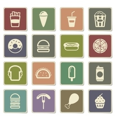 Fast food simply icons vector