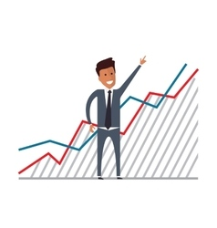 Businessman with financial growth flat vector