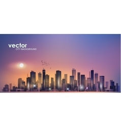 Modern night city skyline vector