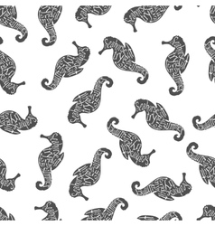 Typography lettering seahorse pattern vector