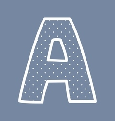A alphabet letter with white polka dots on blue vector image vector image