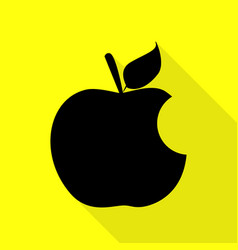 Bite apple sign black icon with flat style shadow vector