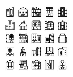 buildings landmarks line icons 9 vector image