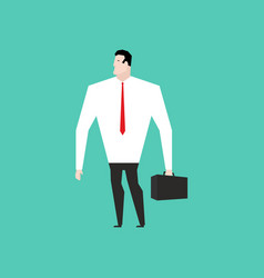 Businessman in white shirt and with suitcase vector