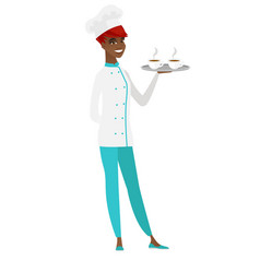 Chef cook holding tray with cups of coffeee or tea vector