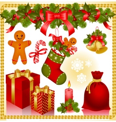 christmas set gifts vector image