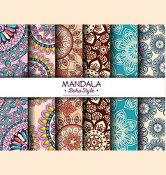 Color mandala pattern background vector