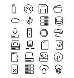 Data storage line icons 1 vector