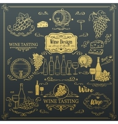 Decorative vintage wine icons vector image vector image