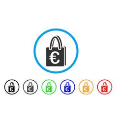 Euro shopping bag rounded icon vector