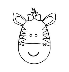 figure face zebra ribbon bow head vector image