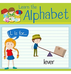 Flashcard letter l is for lever vector