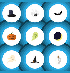 Flat icon halloween set of gourd cranium witch vector