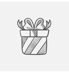 Gift box sketch icon vector image vector image
