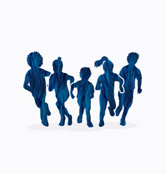 group of children running graphic vector image