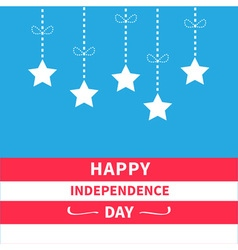 Hanging stars striped background Independence day vector image
