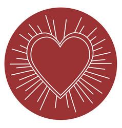 Heart love sun burst vector