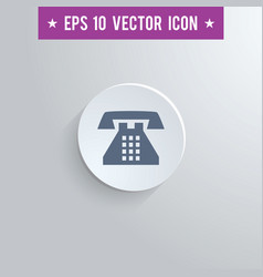Home phone symbol icon on gray shaded background vector