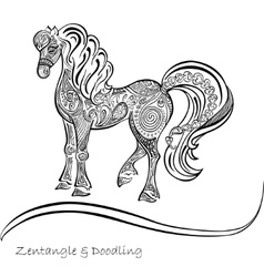 Horse ornaments black and white patterns vector image