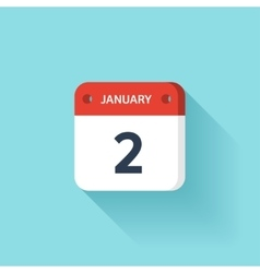 January 2 isometric calendar icon with shadow vector