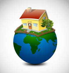 Planet with house and garden vector image