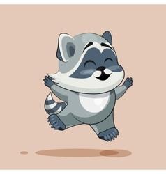 Raccoon cub rejoices vector